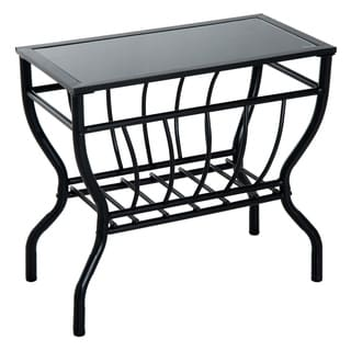 HomCom Black-finished Steel Pipe Magazine-rack End Table With Black Tempered Glass Top