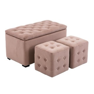 HomCom Tan Tufted Microfiber 3-piece Storage Bench and Cube Ottoman Set