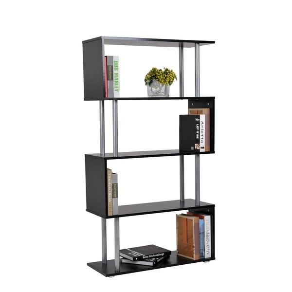 HomCom Black Modern 5 Tier Multi Level Ladder S Shaped Room Bookshelf Display