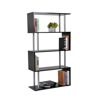 HomCom Black S-shape 5-shelf Display Unit Bookcase
