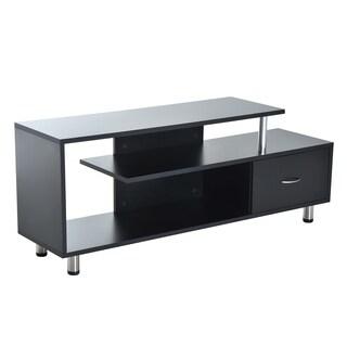 HomCom Black Aluminum 60-inch Modern Flat Screen TV Stand Console