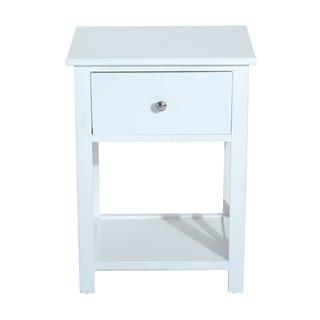 HomCom White Wood 1-drawer X-side Modern End Table