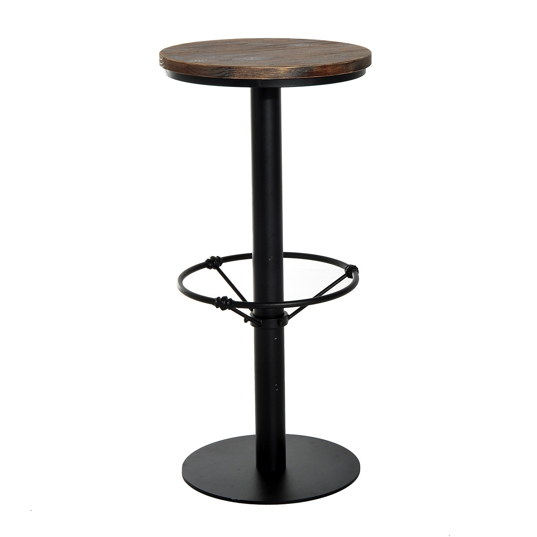 Amazing Homcom Round Industrial Metal Wood Top Bar Height Pub Table Ibusinesslaw Wood Chair Design Ideas Ibusinesslaworg