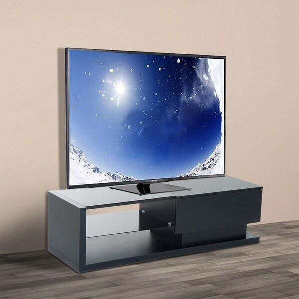 HomCom 51 in Modern Wood Media Center Glass Shelf Unit With Large Drawer - Black