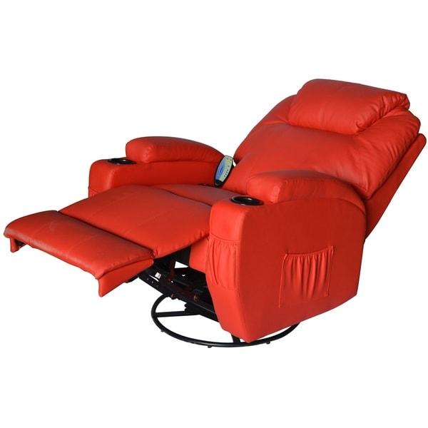 Shop HomCom Deluxe Heated Vibrating PU Leather Massage