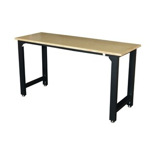 HomCom Black Steel 35-inch Adjustable Garage Workbench with Wooden Top