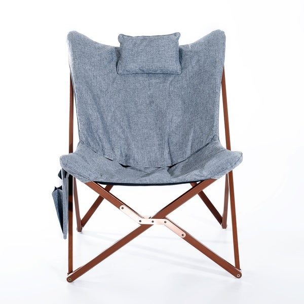 HomCom Light Grey Fabric, Foam, And Wood 37 Inch Folding Butterfly Chair    Free Shipping Today   Overstock.com   24143019