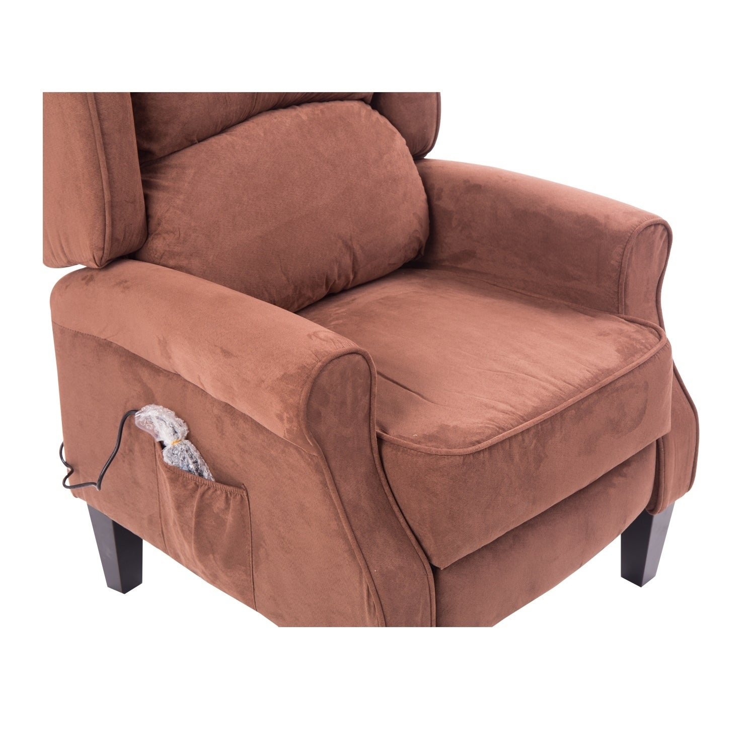 HomCom Brown Suede Heated Vibrating Massage Recliner (Fau.