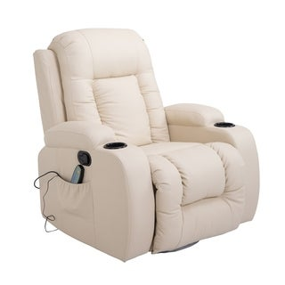Homcom White Faux Leather Heated Vibrating Massage Recliner Chair And Remote