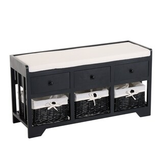 HomCom 3 Drawer 3 Basket Padded Storage Bench