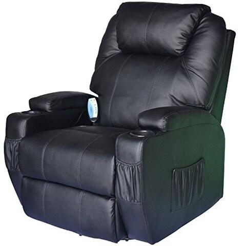 HomCom Deluxe Ergonomic Heated Vibrating PU Leather Massage Sofa Lounge Recliner