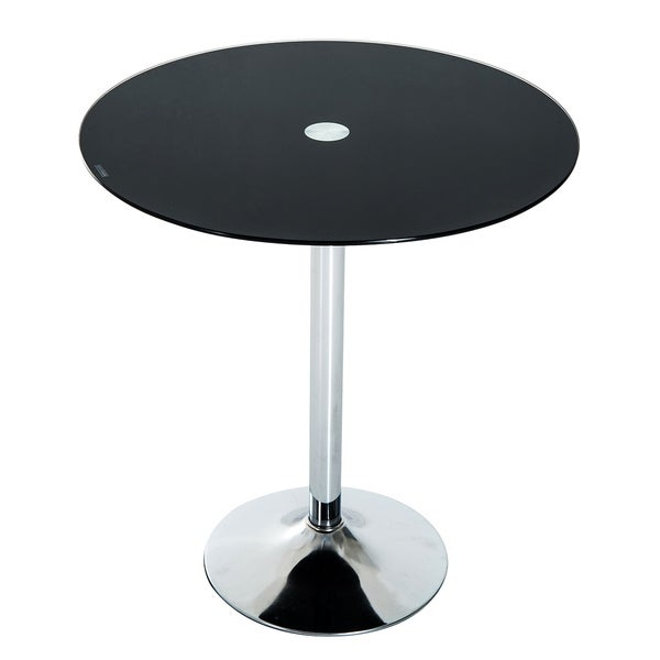 HomCom Glass Top 28inch Round Pub Bistro Bar Table Free Shipping