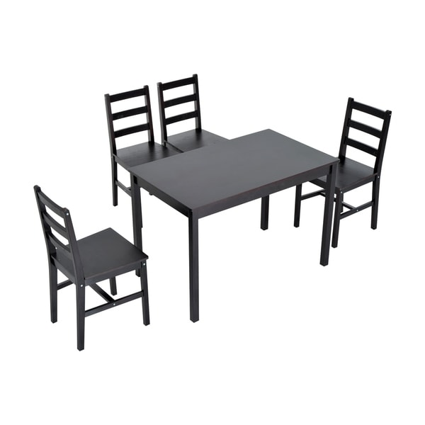 Shop Homcom Five Piece Solid Pine Wood Table And High Back Chair