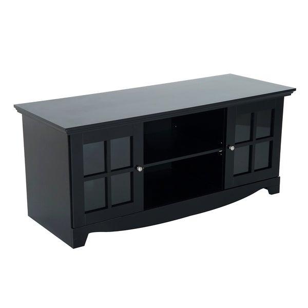 HomCom 56 in Modern Country Media Storage Entertainment Center TV Stand- Matte Black
