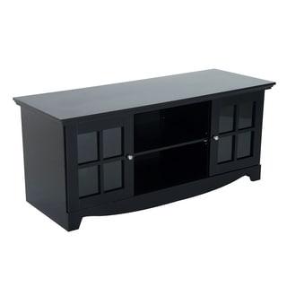 HomCom Glass 56-inch TV Stand Entertainment Center Storage Console