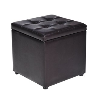 "HomCom 16"" Faux Leather Storage Ottoman / Footstool"