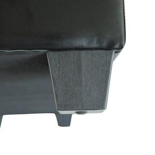 HomCom Black Faux Leather 50.5-inch Long x 19.5-inch Wide x 17-inch High Storage Ottoman Shoe Bench