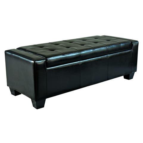 Porch & Den Pickard Black Faux Leather Storage Ottoman Bench