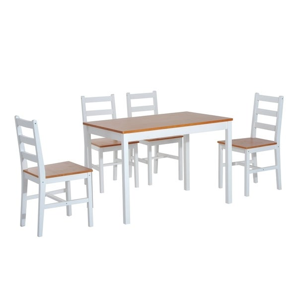 Genial HomCom Five Piece Solid Pine Wood Table And High Back Chair Dining Set    White/