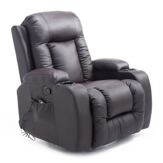 Homcom Brown PU Leather Heated Vibrating Massage Recliner Chair with Remote