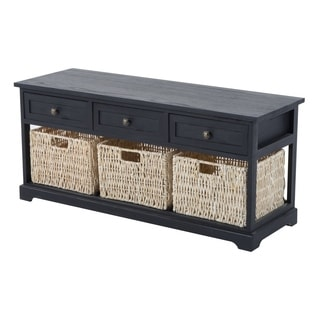 HomCom 40-inch 3-drawer 3-basket Storage Bench
