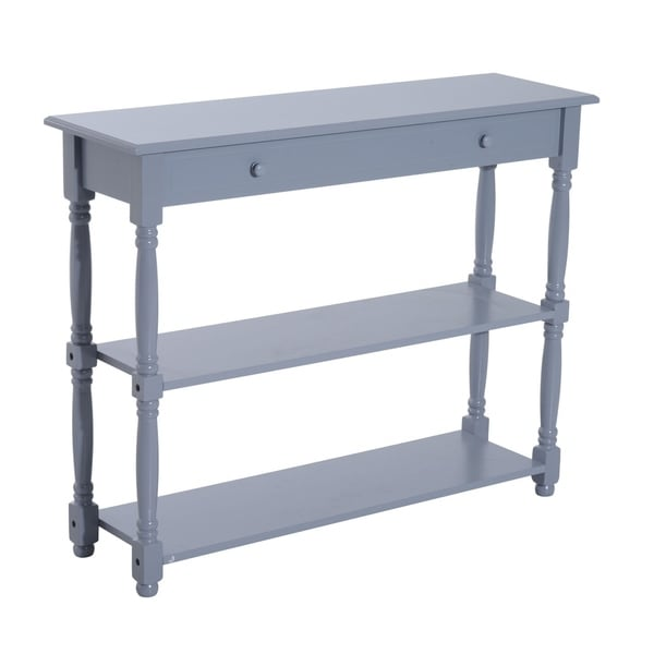 HomCom 3-tier Gray Pine Wood 40-inch Entryway Console Table