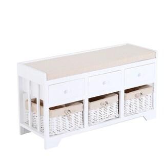 HomCom White/Beige Wood/Wicker 3-drawer 3-basket Padded Storage Bench