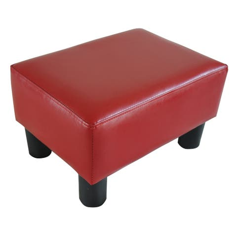 Porch & Den Meadow Modern Small Red Faux Leather Ottoman Footrest Stool