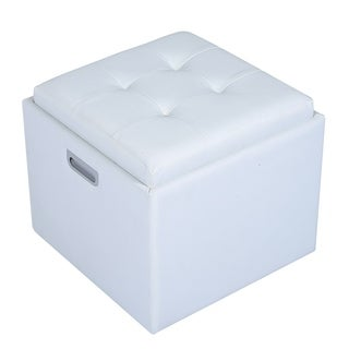 "HomCom 14"" Tufted Square Storage Ottoman with Tray"