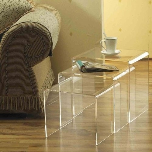 HomCom 3 Piece Modern Clear Acrylic Nesting End Table Set   Free Shipping  Today   Overstock.com   24142952