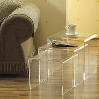 Shop acrylic nesting end tables set of 3 free shipping on orders homcom modern acrylic nesting end table coffee table 3 piece lucite side table set watchthetrailerfo