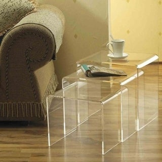 HomCom 3 Piece Modern Clear Acrylic Nesting End Table Set