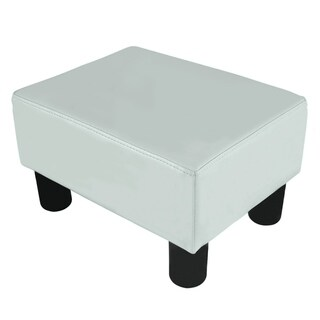 Porch & Den Meadow Modern Small White Faux Leather Ottoman / Footrest Stool
