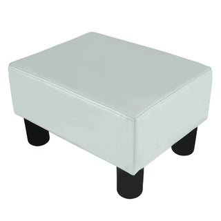 Porch & Den Cal Meadow Modern Small White Faux Leather Ottoman / Footrest Stool