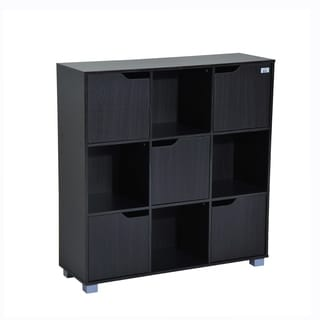 HomCom Black Wood 9-cube Bookcase Storage Shelf Organizer