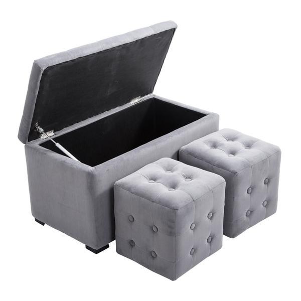 Shop Homcom 3 Piece Tufted Microfiber Storage Bench Cube