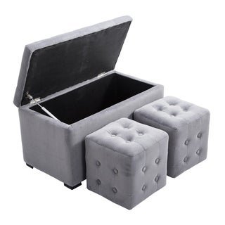 HomCom Grey Microfiber Tufted 3-piece Storage Bench/Cube Ottoman Set