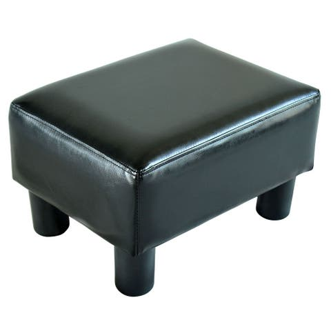 Porch & Den Meadow Modern Small Black Faux Leather Ottoman / Footrest Stool
