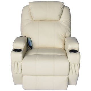 Homcom Luxury Faux Leather Heated Vibrating Massage Recliner Chair with Remote - Cream White