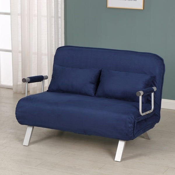 HomCom Small Sofa Couch Futon with Fold Up Bed and Adjustable Backrest, featuring Modern Design with Chic Suede. Opens flyout.