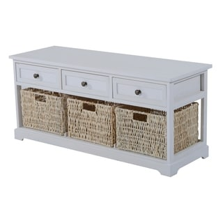 HomCom White Paulownia Wood/Straw Rope 40-inch 3-drawer 3-basket Storage Bench