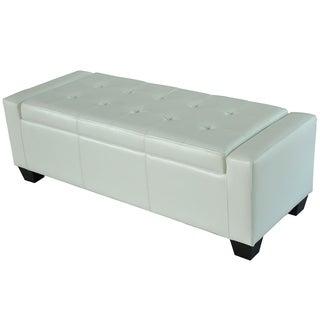 HomCom White Faux Leather Wood Storage Ottoman/Shoe Bench