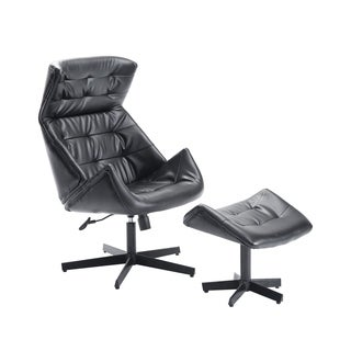 HomCom Black Leatherette/Steel Designer-inspired Classic Lounge Chair and Ottoman Set