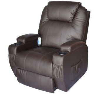 HomCom Brown Faux Leather Heated Vibrating Massage Recliner
