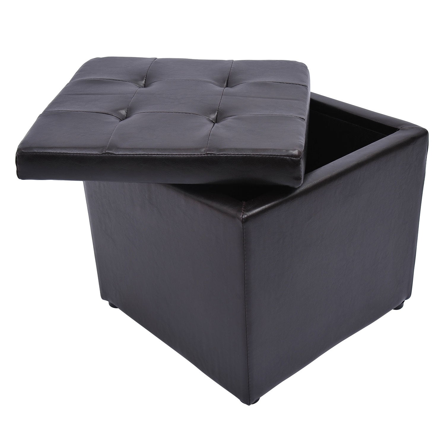 Marvelous Homcom Square Faux Leather Storage Ottoman Cjindustries Chair Design For Home Cjindustriesco