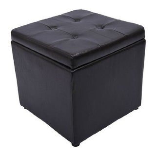 HomCom Square Faux Leather Storage Ottoman