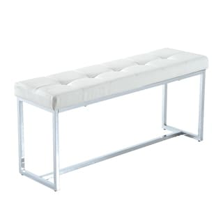 homcom white faux leather chrome finish 39inch tufted entryway bench