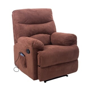 HomCom Brown Faux Suede Heated Vibrating Massage Recliner