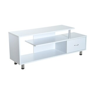 HomCom White 60-inch Modern Flat Screen TV Stand Console with Drawer and Shelves