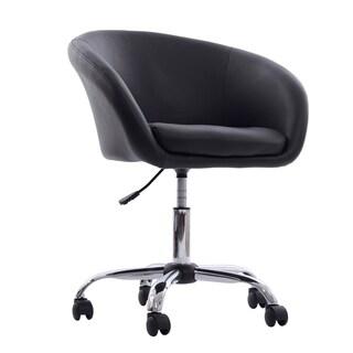 HomCom Modern Faux Leather Swivel Accent Tub Chair W/ Wheels